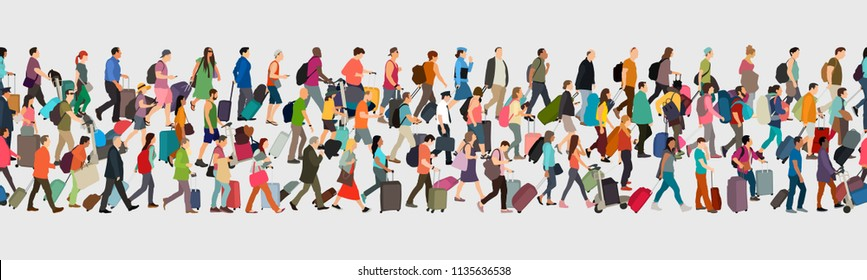 Travelers seamless banner. People going with luggage. Travel and transportation theme vector illustration.