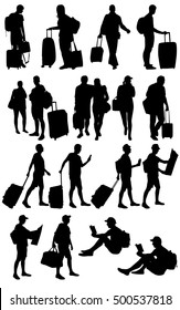 Travelers Silhouette.Various isolated silhouettes of people traveling with suitcases and backpacks.