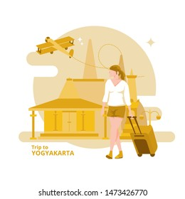 Travelers trip or going to Yogyakarta - Indonesia, Flat illustrations with a holiday theme.