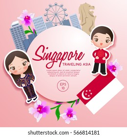 Traveling Asia : Singapore Tourist Attractions : Vector Illustration