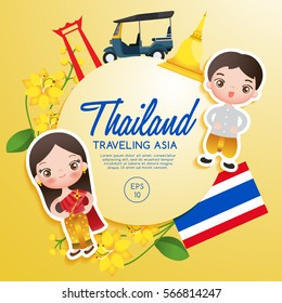 Traveling Asia : Thailand Tourist Attractions : Vector Illustration