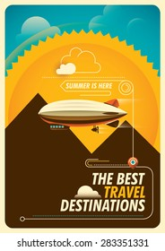 Traveling background with zeppelin. Vector illustration.