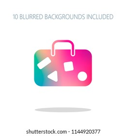 traveling bag, luggage, case. Colorful logo concept with simple shadow on white. 10 different blurred backgrounds included