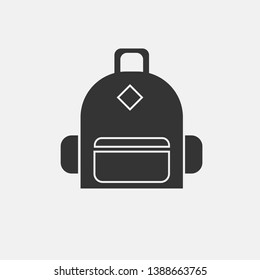 Traveling bag vector icon solid grey