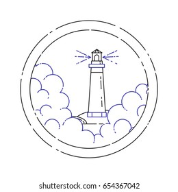 Traveling banner with line elements of lighthouse in fog in circle isolated on white background. Outline vector illustration.