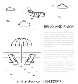 Traveling banner with outline journey and vacation related elements collected in form of round isolated on white background. Vector illustration in line art style.