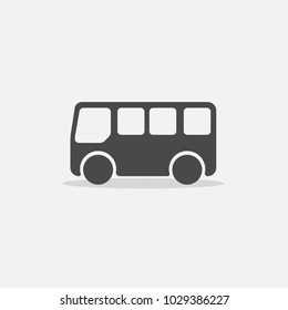traveling bus icon for transportation with flat shadow
