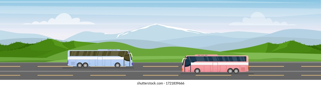 Traveling by bus vector illustration. Cartoon flat tourist buses with travelers drive along road towards trip adventure. Travel agency commercial advertising, summer vacation tourism background