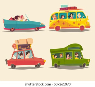 Traveling by car, Cabriolet, Van and Trailer with happy people. Summer vacation, tourism trip. Cartoon character family. Camping trailer. Isolated colorful illustration, isolated, vector set