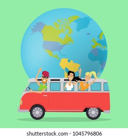 Traveling by minibus. Happy young people waving in minibus on background of globe. Friends on summer trip in classic van. Happy tourist. Smiling flat personages. Vector illustration.