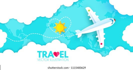Traveling by Plane. Airplane in Sky with Sun, World Map and Clouds. Flight Design Template. Paper Art. Vector illustration