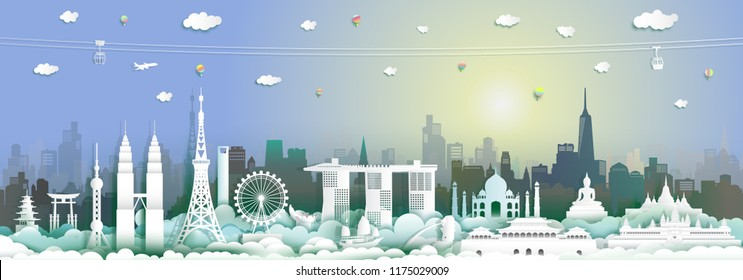 Traveling with cabel car, balloon and airplane, Landmarks of asean with city and tourism asia background, Travel around the world to Asia with origami paper cut style for travel poster and postcard.