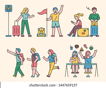 Traveling characters of various actions. flat design style minimal vector illustration.