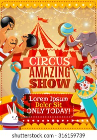 Traveling circus amazing show announcement vintage  poster with performing animals clown and strongman abstract vector illustration