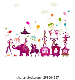 traveling colorful circus caravan with magician, elephant, dancer, acrobat and various fun characters in one row on white background