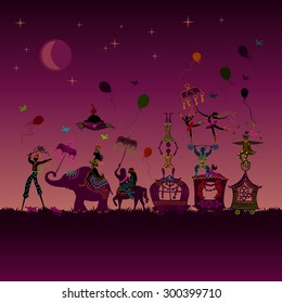 traveling colorful circus caravan with magician, elephant, dancer, acrobat and various fun characters in one row at night