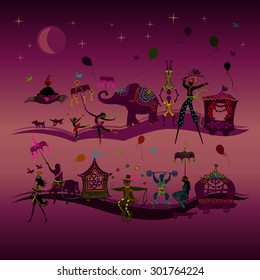 traveling colorful circus caravan with magician, elephant, dancer, acrobat and various fun characters in two rows at night