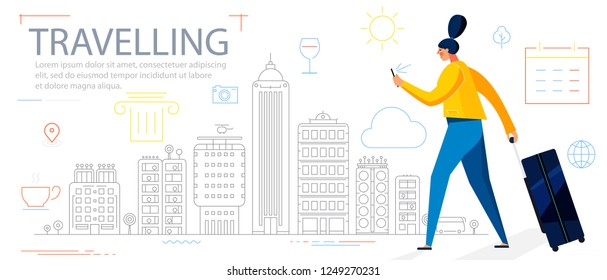 Traveling Concept Banner. Trendy Character Design Illustration