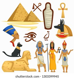 Traveling Egypt symbols Pyramids and Sphinx Egyptian culture vector pharaoh and Cleopatra alphabet symbols and mummy Anubis god and black cat coptic cross and Horus eye royalty man and woman tomb.