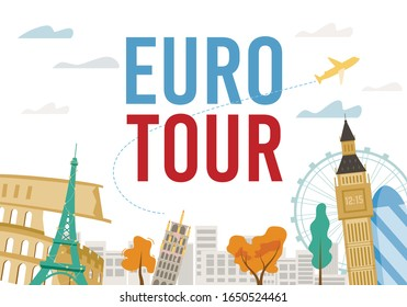 Traveling Euro City Tour Excursion and Destination. Famous Landmark and Sightseeing Attraction over Cityscape Silhouette Design. Flight Ticket to any Location in Europe. Vector Tourism Illustration