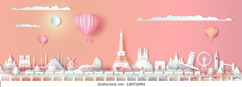 Traveling Europe landmarks of world with train and ballon, Travel around the world with panoramic cityscape, Popular capital,Origami paper cut style for travel postcard valentines,Vector illustration.