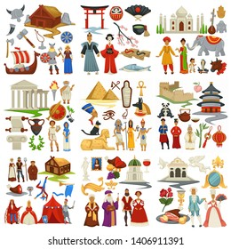 Traveling and exploration world history and countries culture epochs vector North vikings and Chinese couple Indians and Greek Egyptian pharaohs and Japanese Medieval and Renaissance or Baroque
