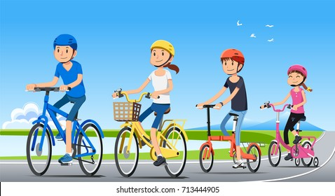 Traveling with family holiday together. Good relationship with people. Ecotourism by bicycle. National park. Bike concept.