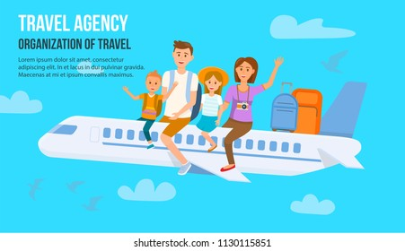 Traveling Family on Vacation. Family Travel. Father, Mother, Son and Daughter at Airport. Happy Family concept. Family Travel by Plane. Travel Agency. Organization of Travel. Vector Illustration.