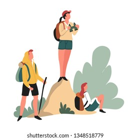 Traveling hikers backpacks and binoculars hiking outdoor activity vector man and woman with rucksacks looking on road standing on rock walking camping or tracking wild nature sport backpacking