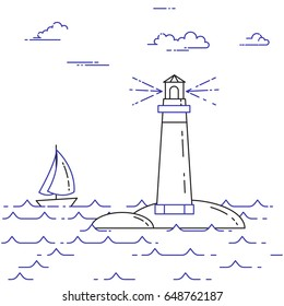 Traveling horizontal banner with sailboat on waves and lighthouse. Line art vector illustration isolated on white background.