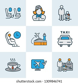 Traveling icons colored line set with airport building, online check-in, tea and other monitor elements. Isolated vector illustration traveling icons.