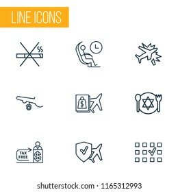 Traveling icons line style set with no smoking, travel insurance, plane crash and other plane assurance elements. Isolated vector illustration traveling icons.