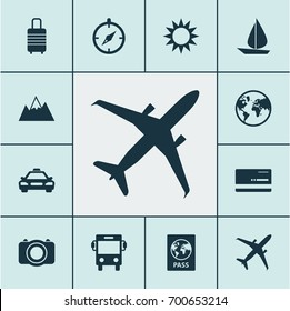 Traveling Icons Set. Collection Of Land, Sunny, Guide Elements. Also Includes Symbols Such As Bag, Car, Overseas.