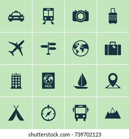 Traveling Icons Set. Collection Of Mount, Direction, Certificate And Other Elements. Also Includes Symbols Such As Airplane, Baggage, Railway.