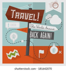 Traveling Illustration with Icons and Info graphic elements