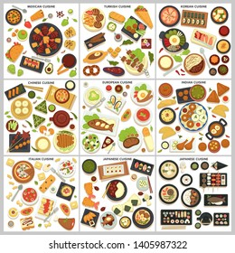 Traveling international cuisine menu food and cooking dishes vector Mexican and turkish Korean and Chinese European and Indian Italian and Japanese meals meat fish and desserts ingredients and drinks