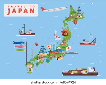 Traveling to Japan vector illustration