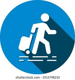 Traveling man icon. Travel around the world icon.