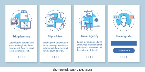 Traveling onboarding mobile app page screen with linear concepts. Travel agency and guide. Trip planning. Four walkthrough steps graphic instructions. UX, UI, GUI vector template with illustrations