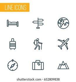 Traveling Outline Icons Set. Collection Of Arrows, Earth, Plane And Other Travel Icon Elements. Also Includes Symbols Such As Mountain, Backpack, Traveler.