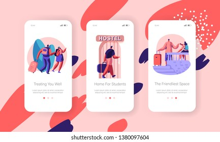 Traveling People and Students Staying in Hostel for Living Accommodation or at Night, Concept for Mobile App Page Onboard Screen Templates Set for Website or Web Page. Cartoon Flat Vector Illustration