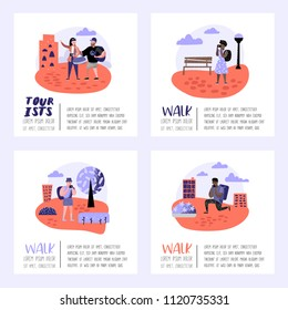 Traveling People in Trip Poster, Banner, Brochure. Tourist with Gadget Taking Photo. Woman Making Selfie. Characters Walking on Tour. Vector illustration