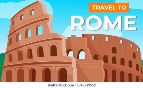Traveling to Rome. Italian vacation. Journey and travel abroad. The Colosseum or the arena. A Mediterranean country with a warm climate. Coliseum in Rome. Gladiator fights. Flat vector illustration