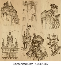 Traveling series: ROMANIA (set no.2) - Collection of hand drawn illustrations (originals, no tracing). Description: Each drawing comprises two layers of outlines, the colored background is isolated.