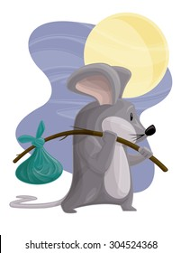 Traveling Tramp Mouse Vagabond Rodent Cartoon Vector Graphic Illustration