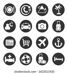 Traveling, transport and hotel icons.