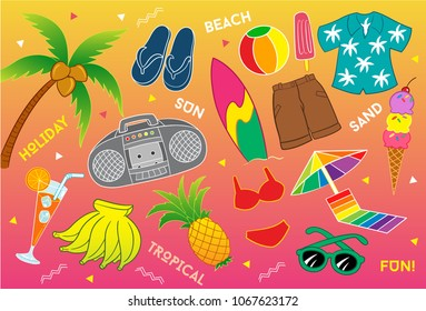 Traveling to Tropical Beach Vector Illustration for many purpose such as print stuff (on canvas, poster, paper, note book, purse, bag, textile, clothes, pillow case, pencil case, etc) or digital stuff