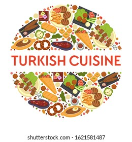 Traveling, Turkish cuisine meals and dishes, culinary recipes vector. Turkey kitchen, shashlik or bbq, steaks and french fries, doner or kebab. Sandwich, meatballs with salad, bakery products and meat