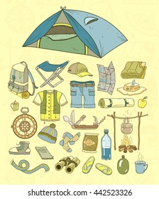 Traveling. Vector camping.
