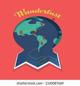 Traveling the world unfolding map a wanderlust concept
